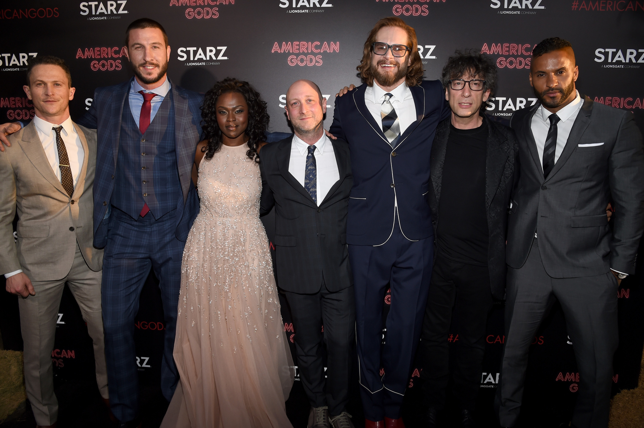 Jonathan Tucker, Bryan Fuller, Neil Gaiman, Michael Green, Pablo Schreiber, Ricky Whittle, and Yetide Badaki at an event for American Gods (2017)