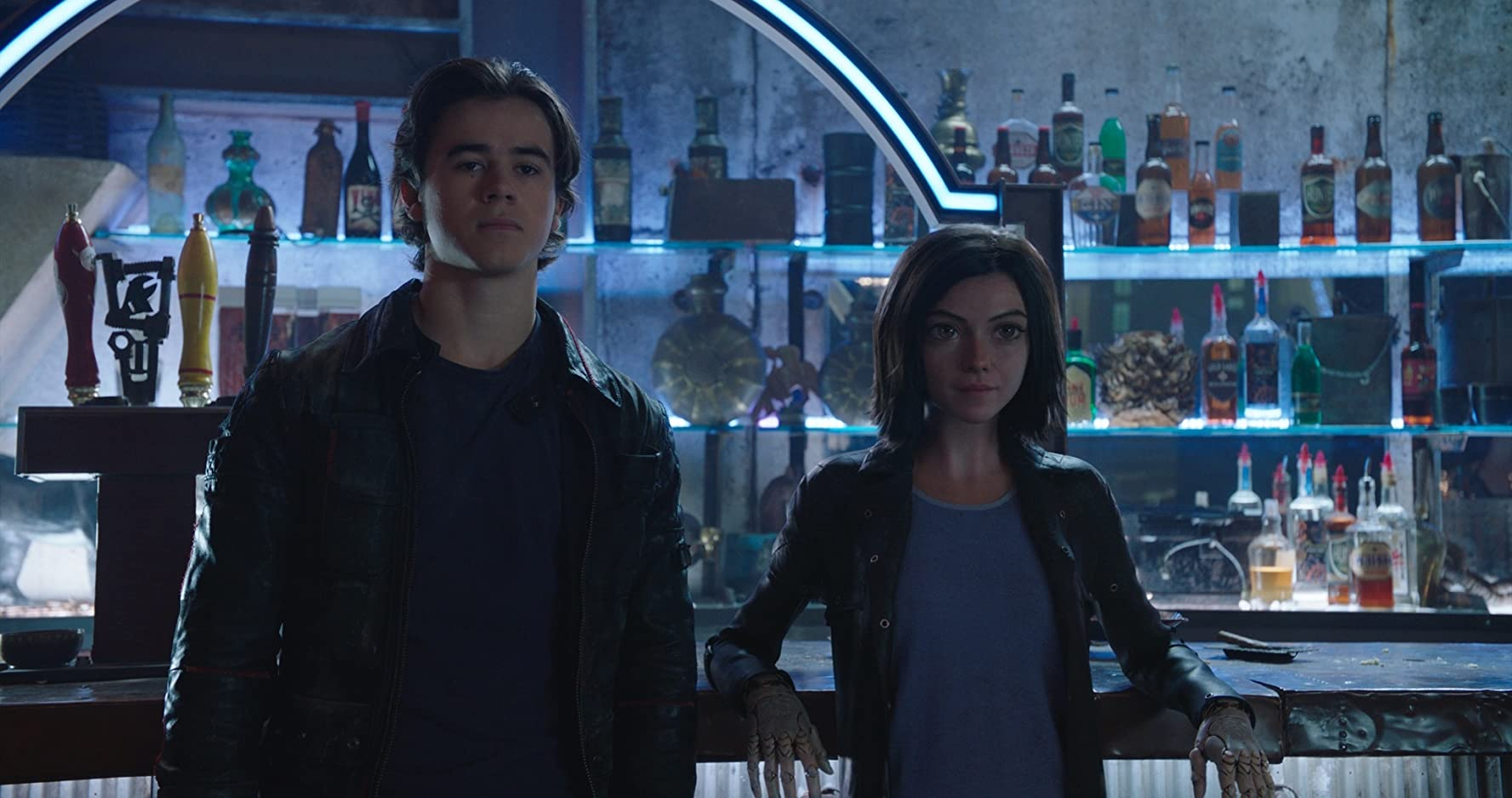 Rosa Salazar and Keean Johnson in Alita: Battle Angel (2019)