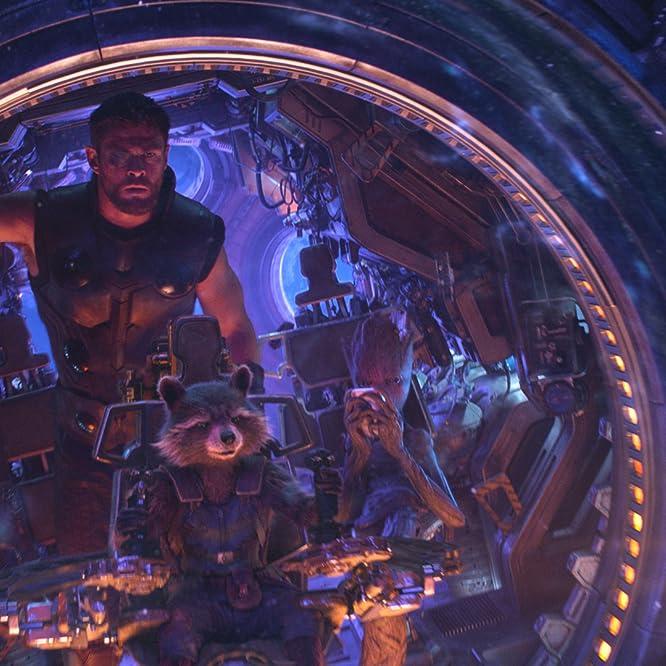 Vin Diesel, Bradley Cooper, Sean Gunn, and Chris Hemsworth in Avengers: Infinity War (2018)