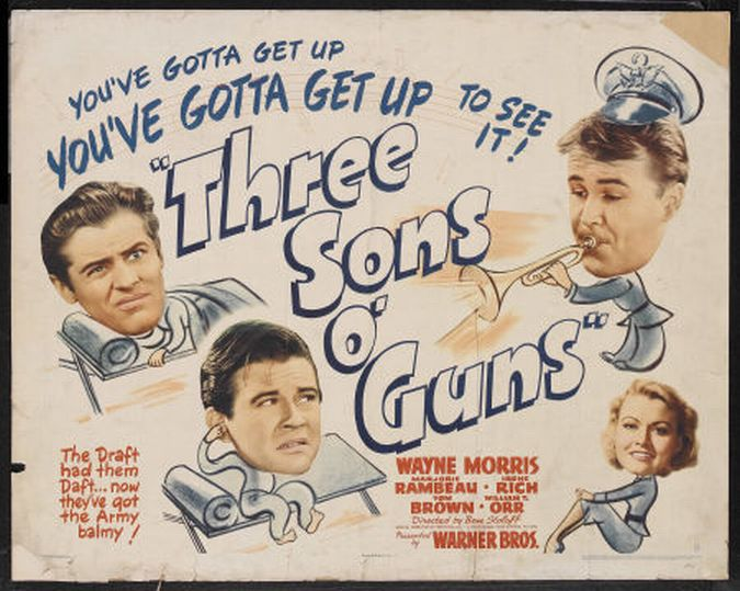 William T. Orr, Tom Brown, Wayne Morris, and Irene Rich in Three Sons o' Guns (1941)