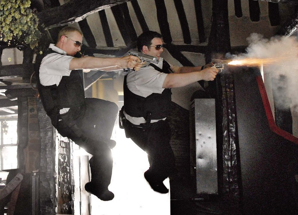 Nick Frost and Simon Pegg in Hot Fuzz (2007)