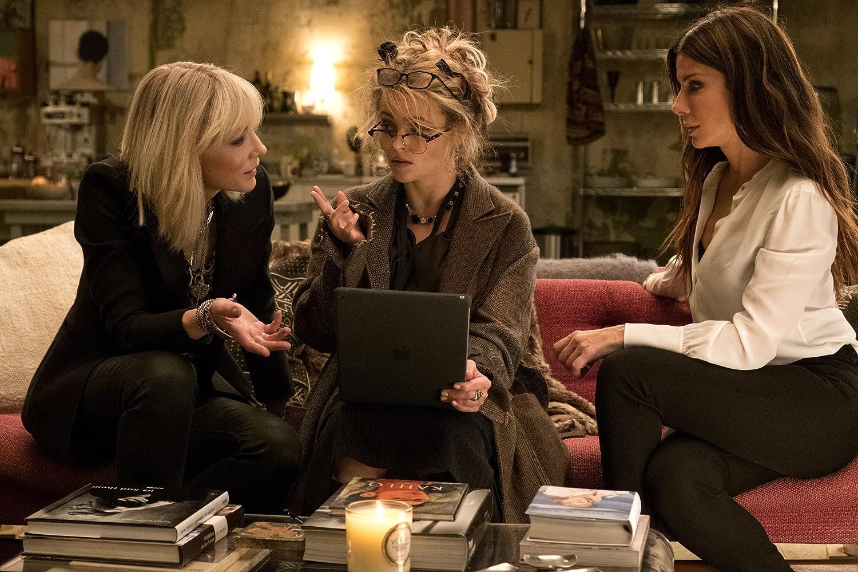 Sandra Bullock, Helena Bonham Carter, and Cate Blanchett in Ocean's 8 (2018)