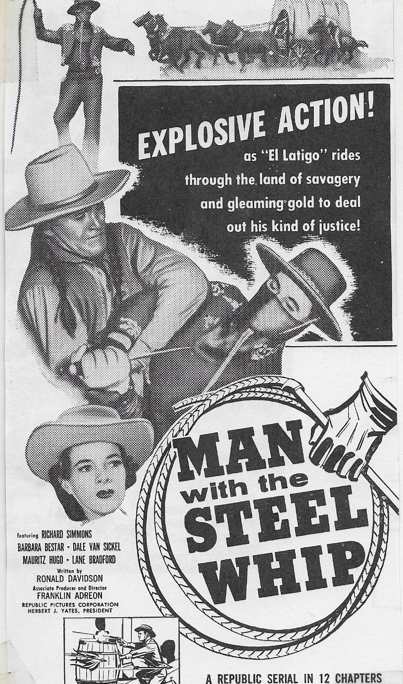 Barbara Bestar, Lane Bradford, and Dick Simmons in Man with the Steel Whip (1954)