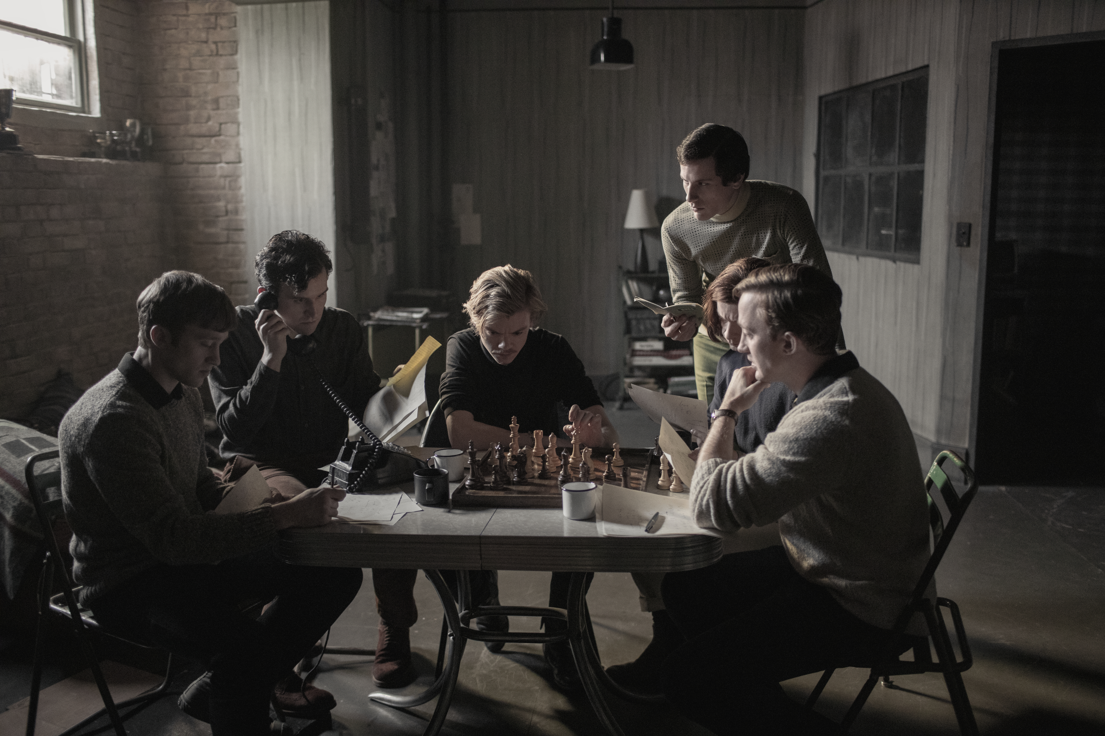 Harry Melling, Thomas Brodie-Sangster, Russell Dennis Lewis, and Matthew Dennis Lewis in The Queen's Gambit (2020)