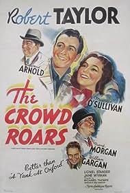Maureen O'Sullivan, Robert Taylor, Edward Arnold, William Gargan, and Frank Morgan in The Crowd Roars (1938)