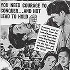 Max Baer, Richard Dix, Victor Jory, and Jane Wyatt in Buckskin Frontier (1943)