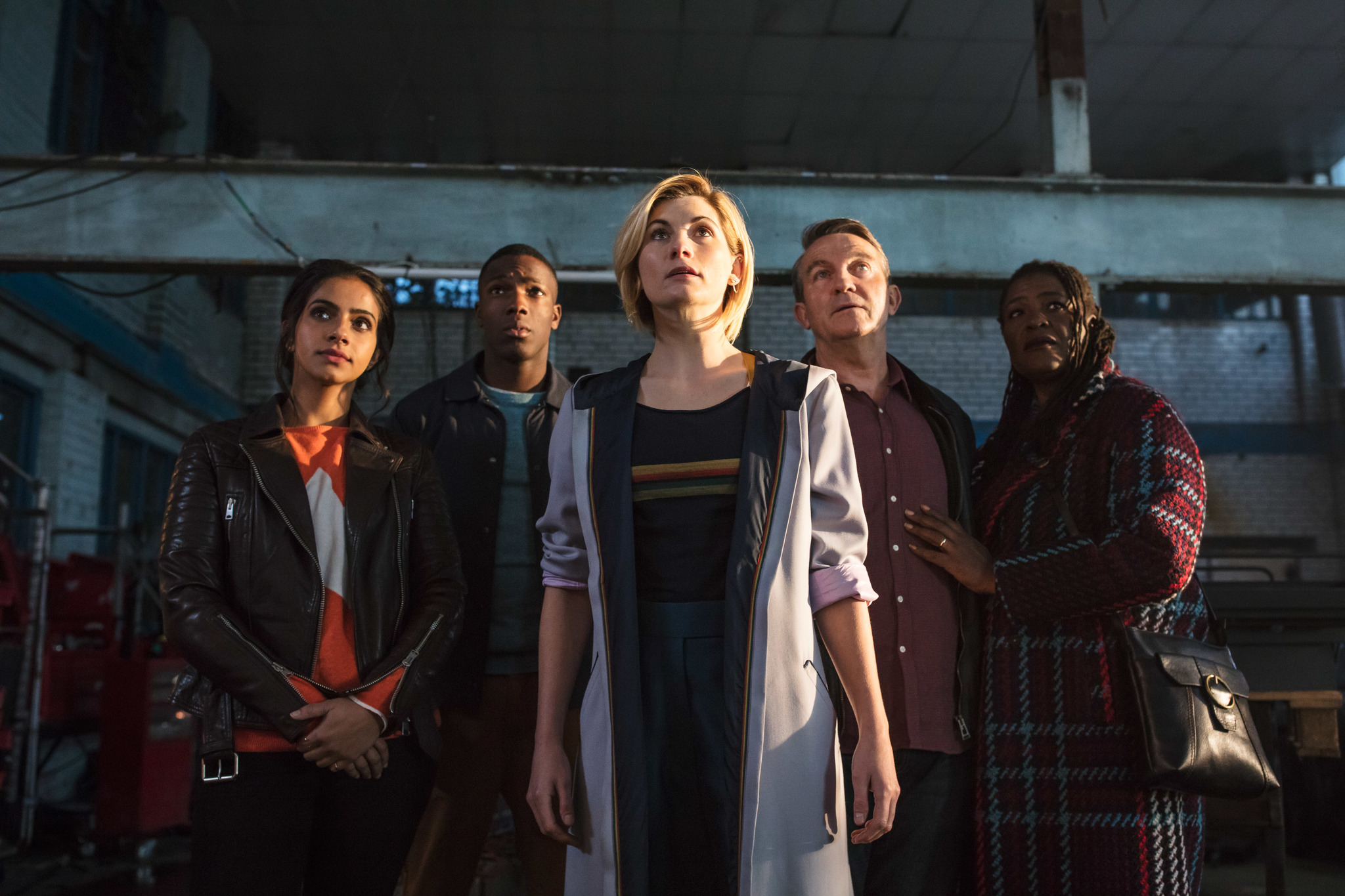 Sharon D. Clarke, Bradley Walsh, Jodie Whittaker, Tosin Cole, and Mandip Gill in Doctor Who (2005)