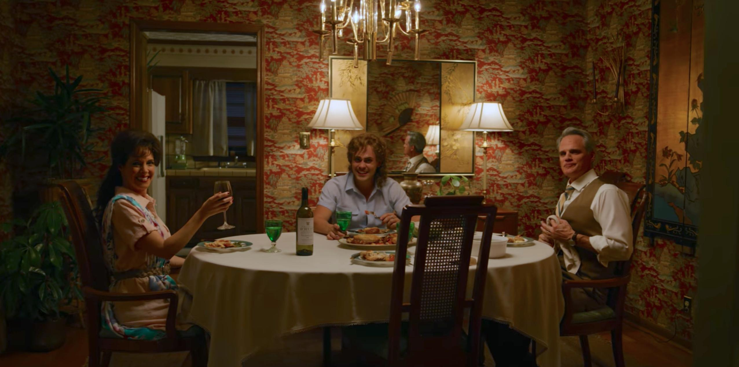 Michael Park, Dacre Montgomery, and Holly A. Morris in Stranger Things (2016)