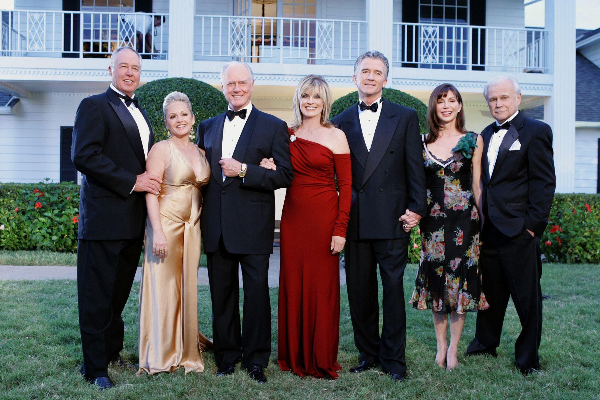 Victoria Principal, Patrick Duffy, Larry Hagman, Charlene Tilton, Linda Gray, Steve Kanaly, and Ken Kercheval in Dallas Reunion: Return to Southfork (2004)