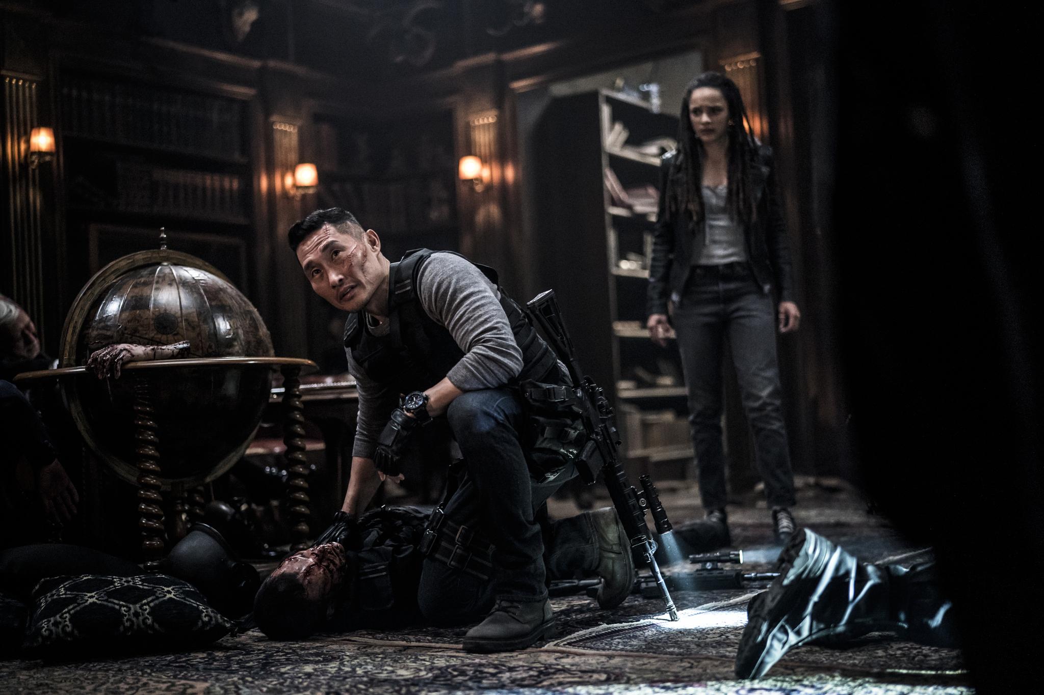 Daniel Dae Kim and Sasha Lane in Hellboy (2019)
