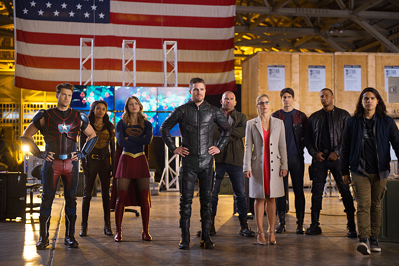 Dominic Purcell, David Ramsey, Brandon Routh, Nick Zano, Stephen Amell, Caity Lotz, Melissa Benoist, Carlos Valdes, Emily Bett Rickards, and Maisie Richardson-Sellers in Legends of Tomorrow (2016)