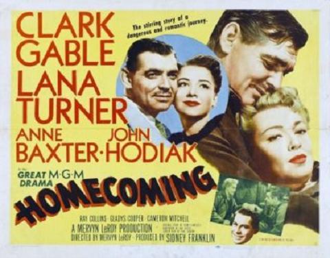 Clark Gable, Anne Baxter, Lana Turner, and John Hodiak in Homecoming (1948)
