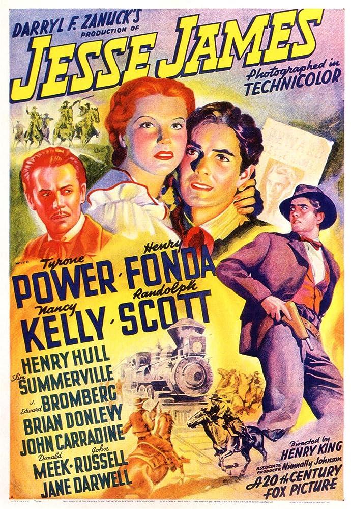 Henry Fonda, Tyrone Power, Randolph Scott, and Nancy Kelly in Jesse James (1939)