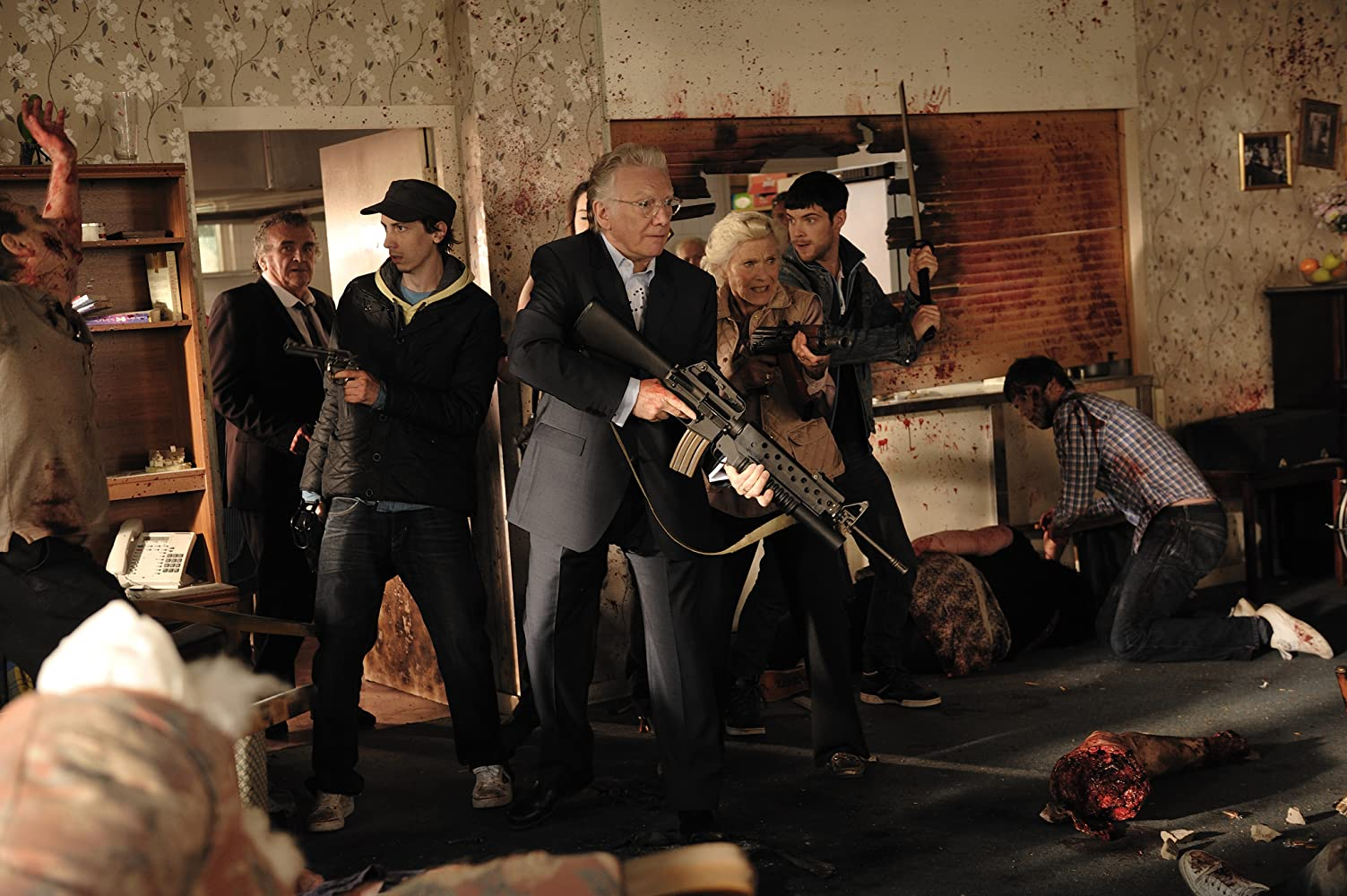 Honor Blackman, Alan Ford, Tony Selby, Rasmus Hardiker, and Harry Treadaway in Cockneys vs Zombies (2012)