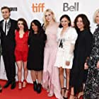 Amelia Warner, Elle Fanning, Haifaa Al-Mansour, Bel Powley, Douglas Booth, Maisie Williams, and Emma Jensen at an event for Mary Shelley (2017)