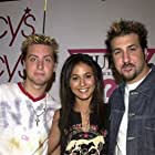 Lance Bass, Emmanuelle Chriqui, and Joey Fatone at an event for On the Line (2001)