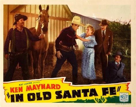 George 'Gabby' Hayes, Evalyn Knapp, Ken Maynard, Wheeler Oakman, and Kenneth Thomson in In Old Santa Fe (1934)