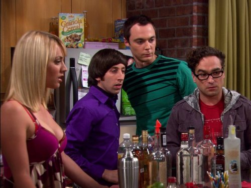 Kaley Cuoco, Johnny Galecki, Simon Helberg, and Jim Parsons in The Big Bang Theory (2007)