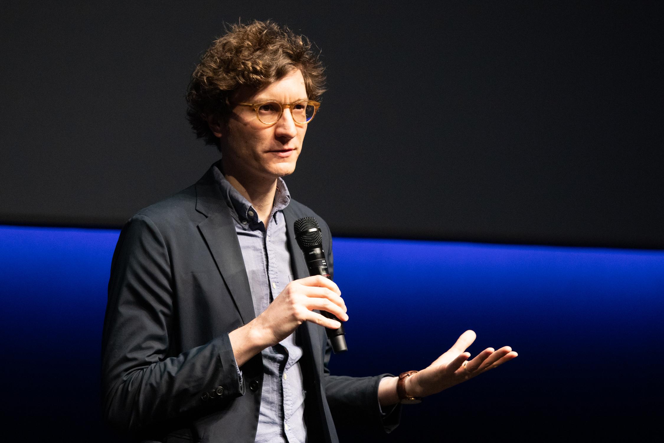 Michael Tyburski speaks at Dolby Cinema at San Francisco Film Festival
