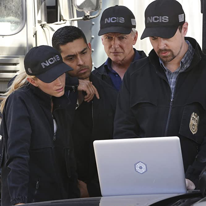 Mark Harmon, Wilmer Valderrama, Sean Murray, and Emily Wickersham in NCIS (2003)