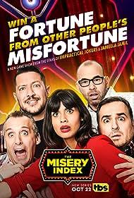 Sal Vulcano, Brian Quinn, James Murray, Joe Gatto, and Jameela Jamil in The Misery Index (2019)