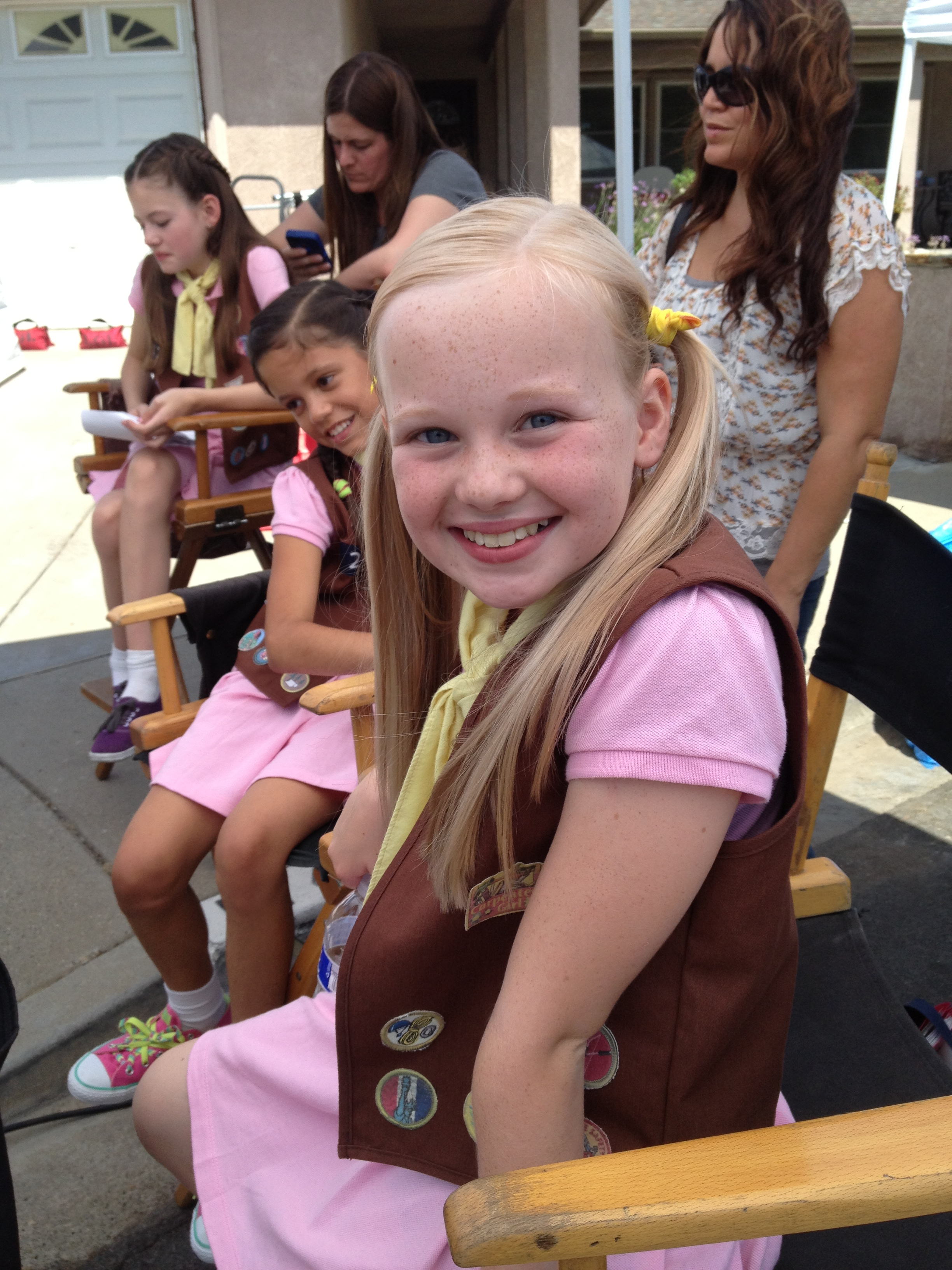 Danielle Parker the set of The Cookie Mobster with Jenna Ortega and Mackenzie Foy