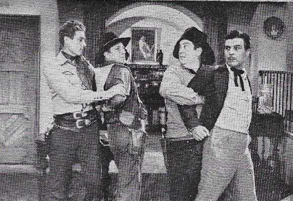 Smiley Burnette, Bud Geary, George J. Lewis, and Robert Livingston in The Laramie Trail (1944)