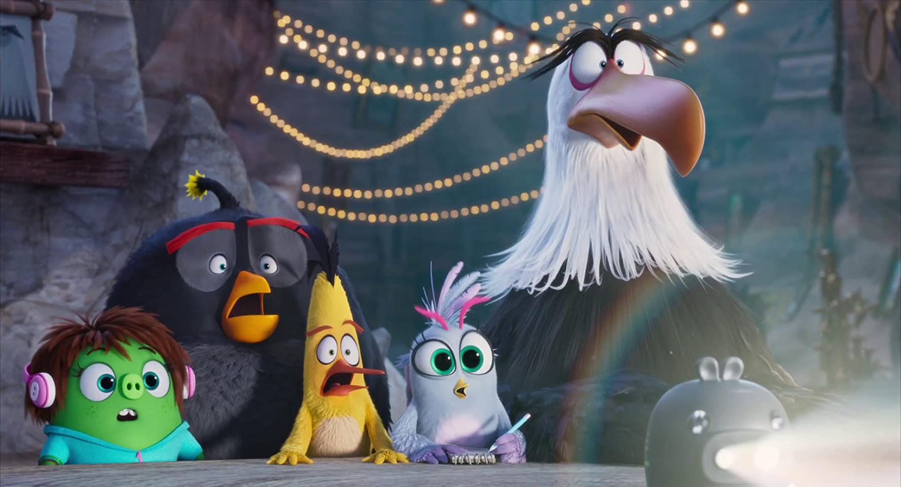 Peter Dinklage, Danny McBride, Josh Gad, Rachel Bloom, and Awkwafina in The Angry Birds Movie 2 (2019)