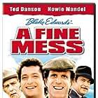 Ted Danson, Howie Mandel, Stuart Margolin, and Richard Mulligan in A Fine Mess (1986)