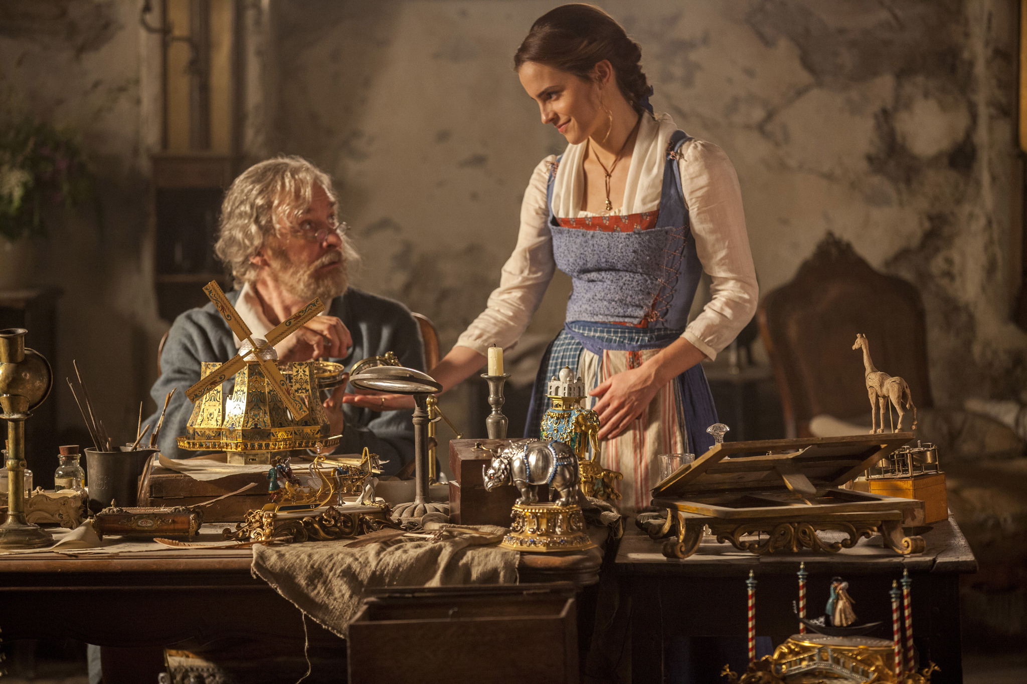 Kevin Kline and Emma Watson in Beauty and the Beast (2017)