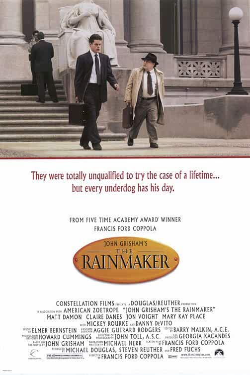 Claire Danes, Michael Douglas, Francis Ford Coppola, Matt Damon, Danny DeVito, Virginia Madsen, Mickey Rourke, Jon Voight, Mary Kay Place, Johnny Whitworth, and Teresa Wright in The Rainmaker (1997)