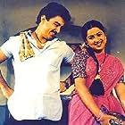 Kamal Haasan and Radhika Sarathkumar in Per Sollum Pillai (1987)