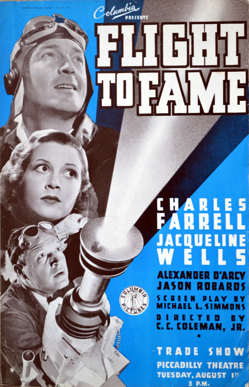 Julie Bishop, Charles Farrell, and Jason Robards Sr. in Flight to Fame (1938)