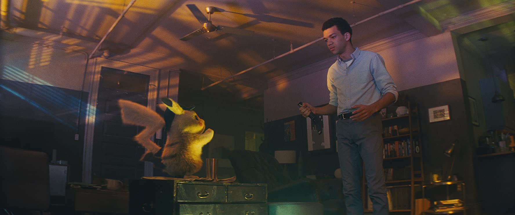 Ryan Reynolds and Justice Smith in Pokémon Detective Pikachu (2019)