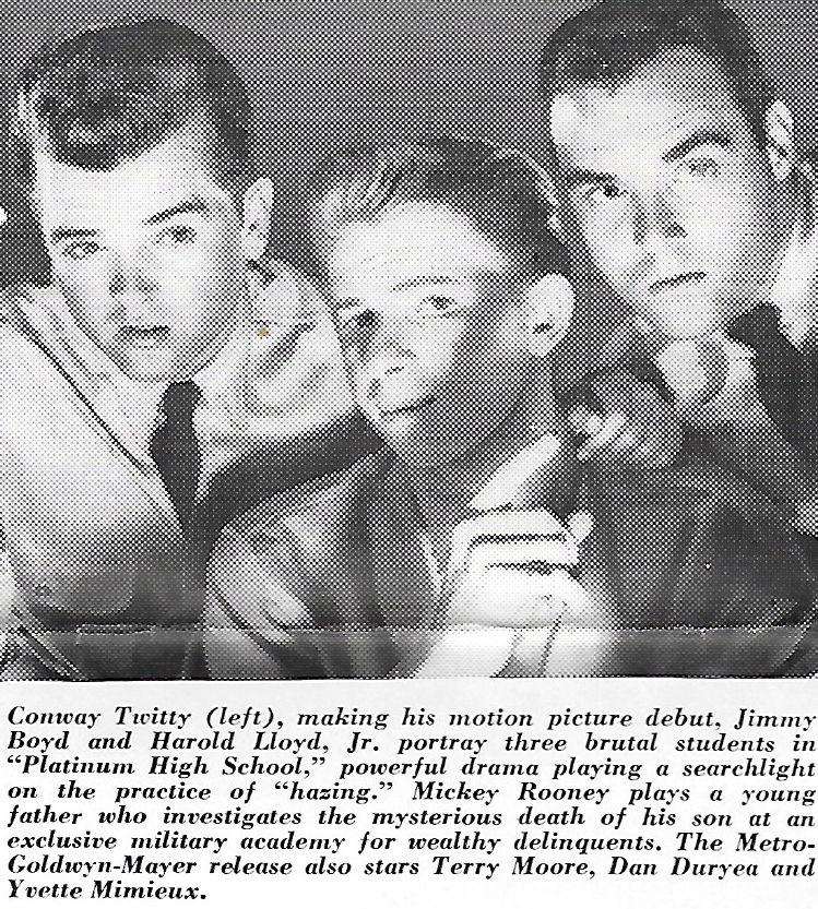 Jimmy Boyd, Harold Lloyd Jr., and Conway Twitty in Platinum High School (1960)