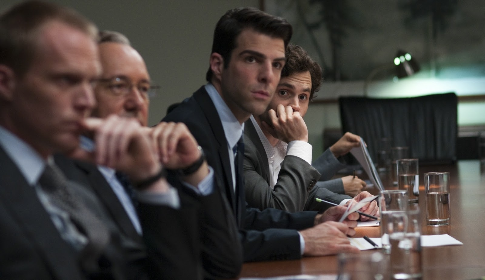 Kevin Spacey, Penn Badgley, Paul Bettany, and Zachary Quinto in Margin Call (2011)