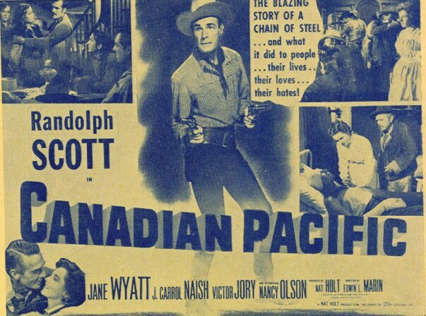 Randolph Scott, Victor Jory, J. Carrol Naish, and Jane Wyatt in Canadian Pacific (1949)