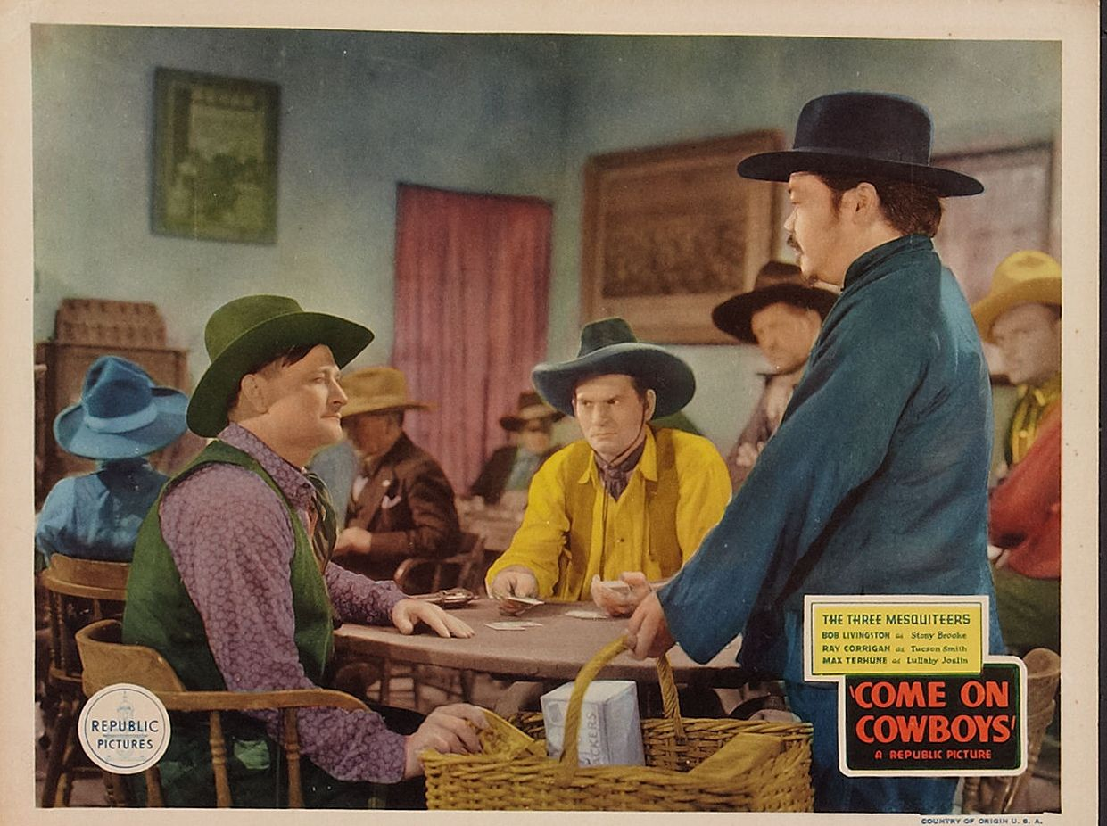 Yakima Canutt, Willie Fung, and Max Terhune in Come on, Cowboys (1937)