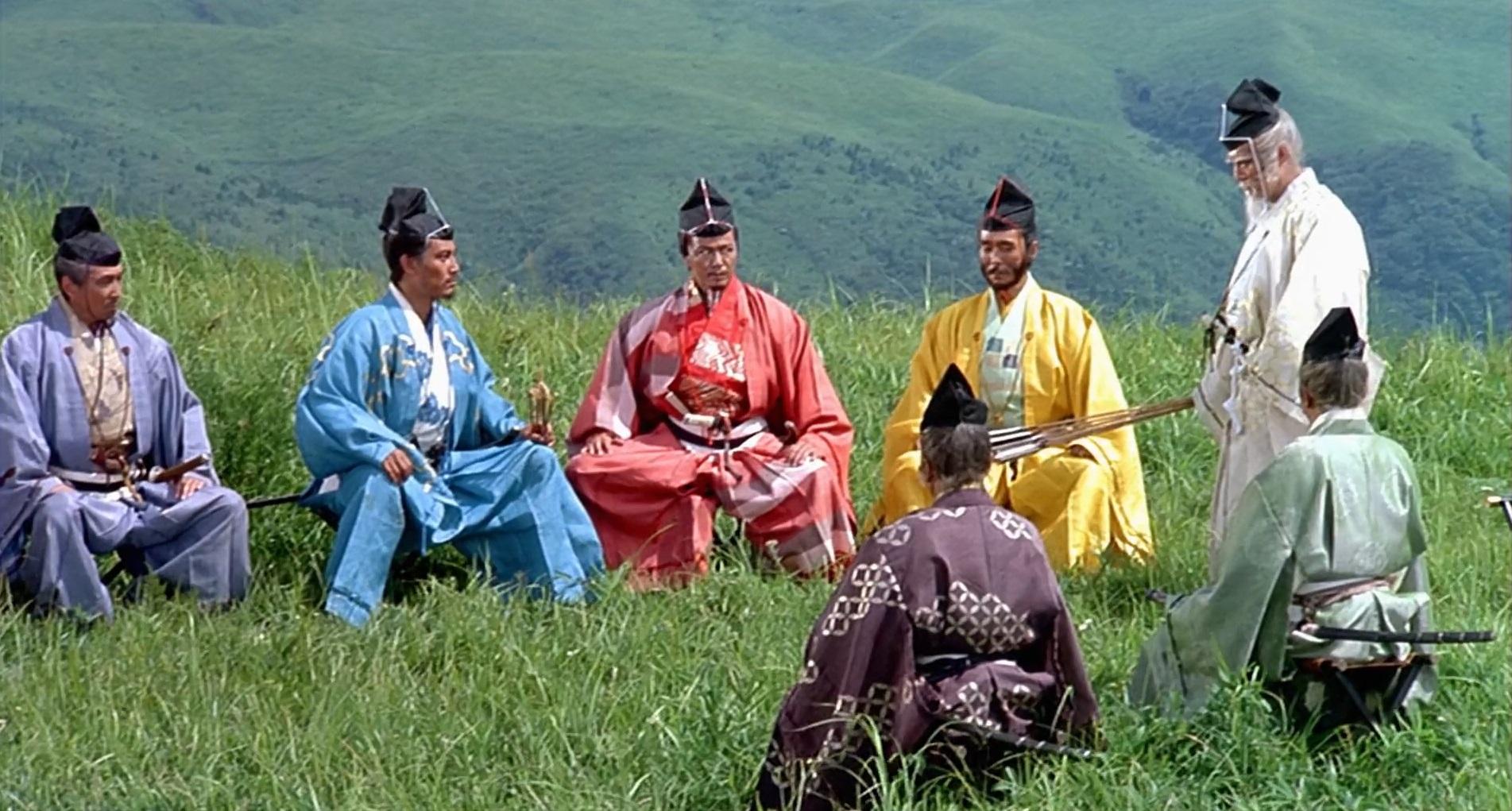 Kazuo Katô, Tatsuya Nakadai, Jinpachi Nezu, Daisuke Ryû, Jun Tazaki, Akira Terao, and Hitoshi Ueki in Ran (1985)