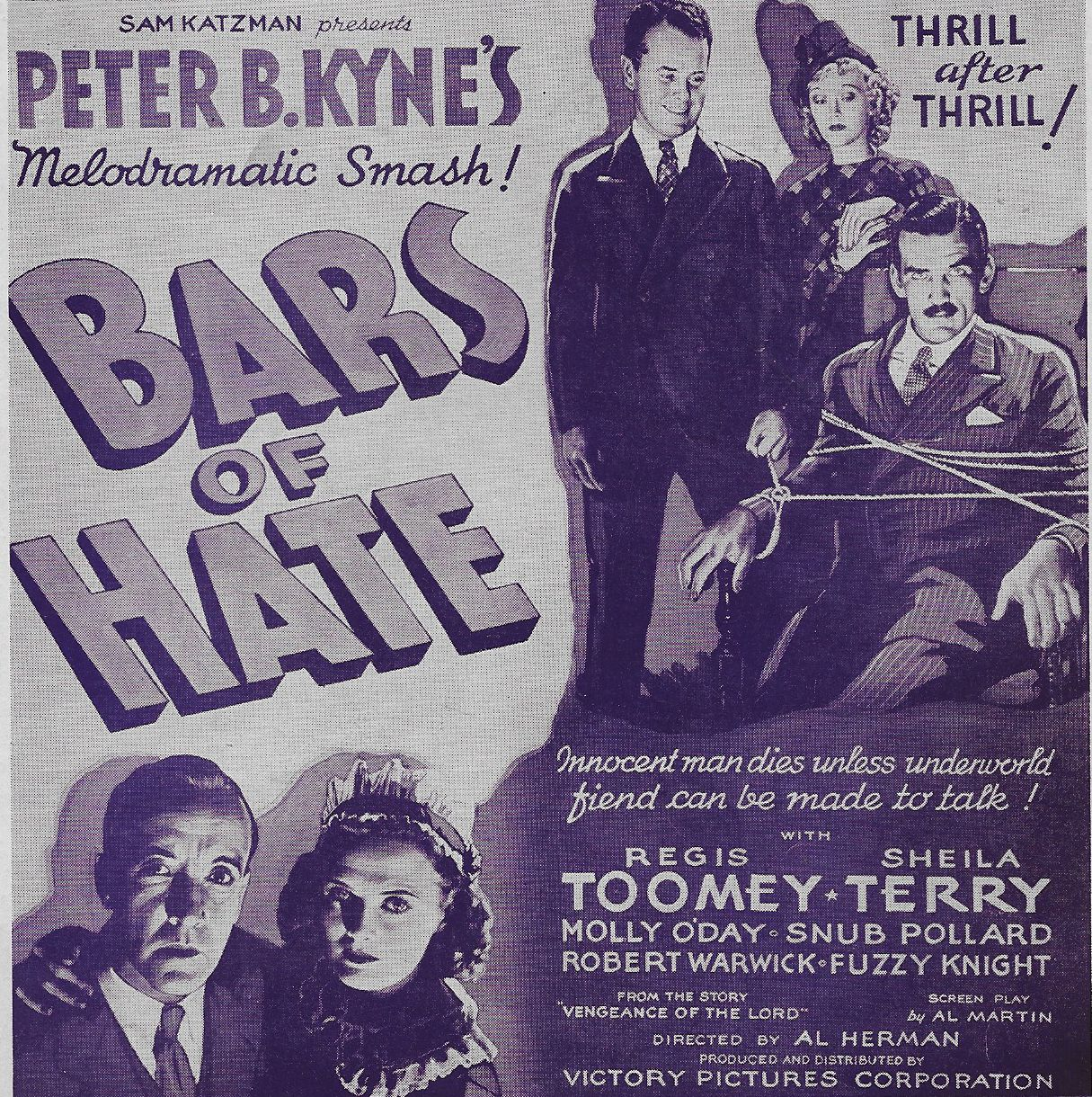 Gordon Griffith, 'Snub' Pollard, Sheila Terry, and Regis Toomey in Bars of Hate (1935)