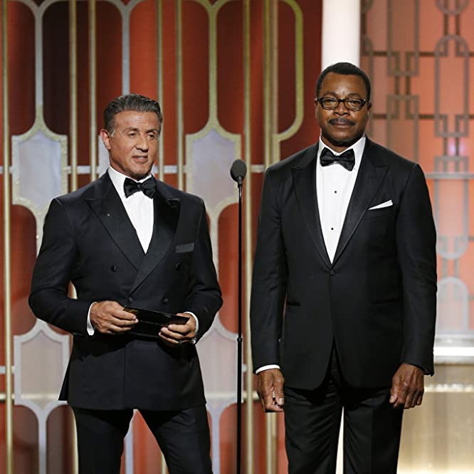 Sylvester Stallone and Carl Weathers at an event for The 74th Golden Globe Awards (2017)