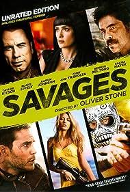 Salma Hayek, John Travolta, Benicio Del Toro, Blake Lively, Aaron Taylor-Johnson, and Taylor Kitsch in Savages: The Interrogations (2012)