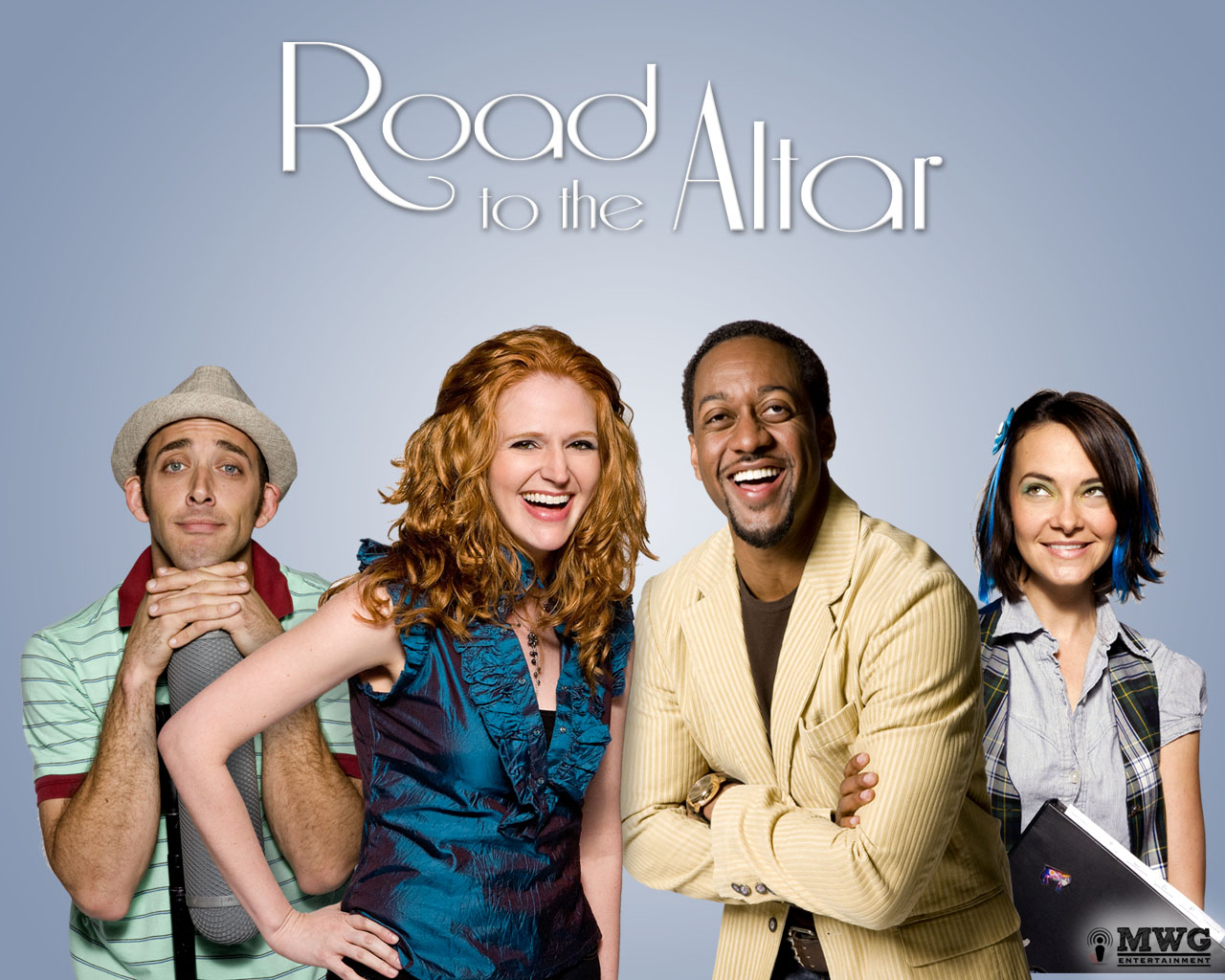 Leyna Juliet Weber and Jaleel White with cast of Road to the Altar