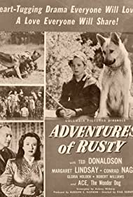 Ted Donaldson, Billy Gray, Gary Gray, Bobby Larson, Margaret Lindsay, Douglas Madore, Conrad Nagel, Eddie Parker, Addison Richards, and Ace the Wonder Dog in Adventures of Rusty (1945)