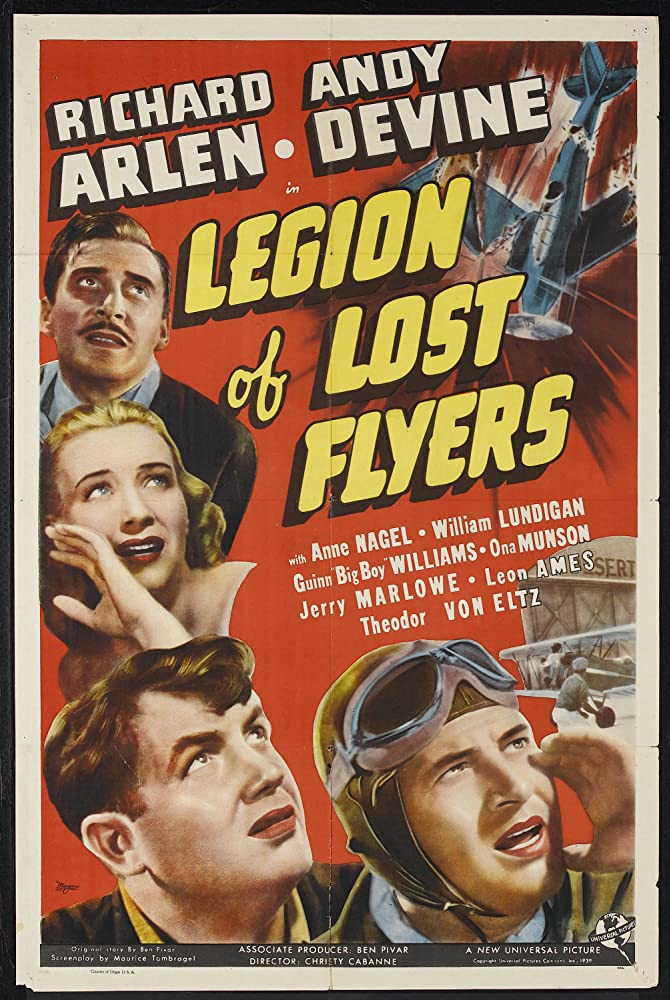Leon Ames, Richard Arlen, Andy Devine, and Anne Nagel in Legion of Lost Flyers (1939)