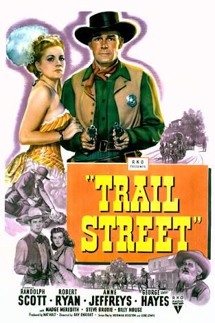Randolph Scott, George 'Gabby' Hayes, Anne Jeffreys, Madge Meredith, and Robert Ryan in Trail Street (1947)