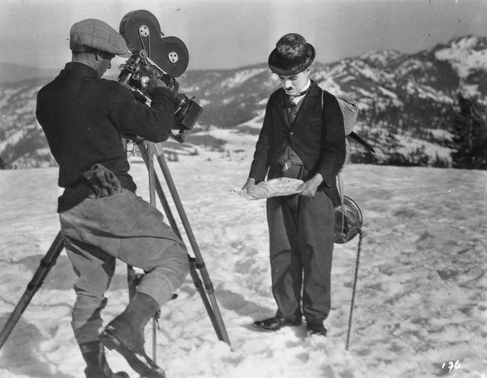 Charles Chaplin and Roland Totheroh in The Gold Rush (1925)
