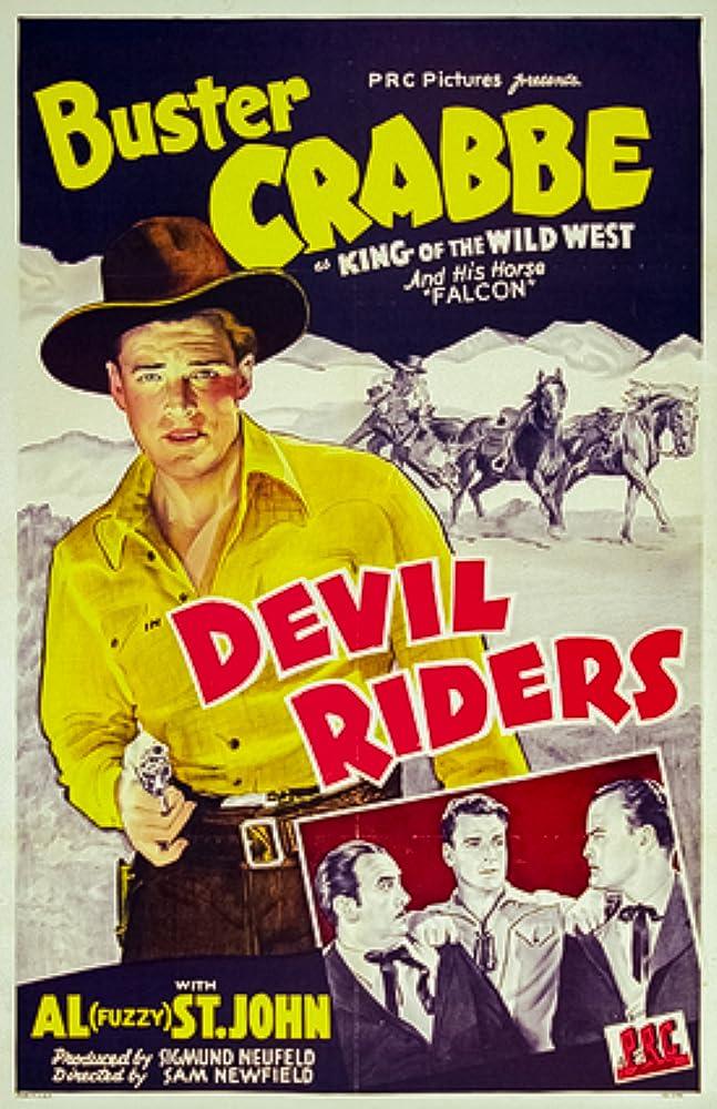 Buster Crabbe, Al St. John, and Falcon in Devil Riders (1943)