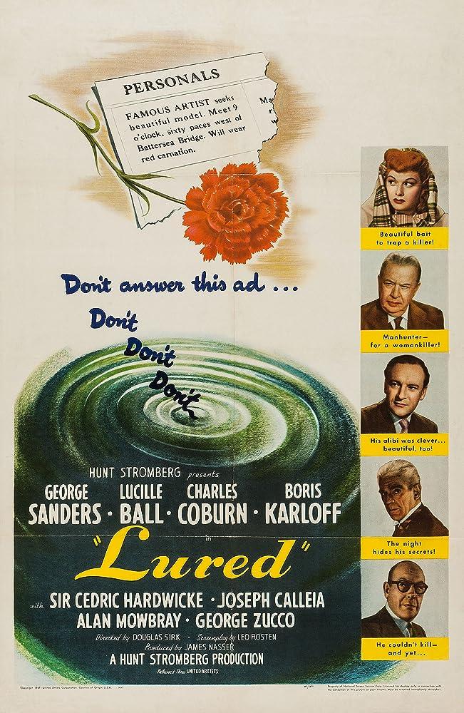 Boris Karloff, Lucille Ball, George Sanders, Charles Coburn, and Cedric Hardwicke in Lured (1947)