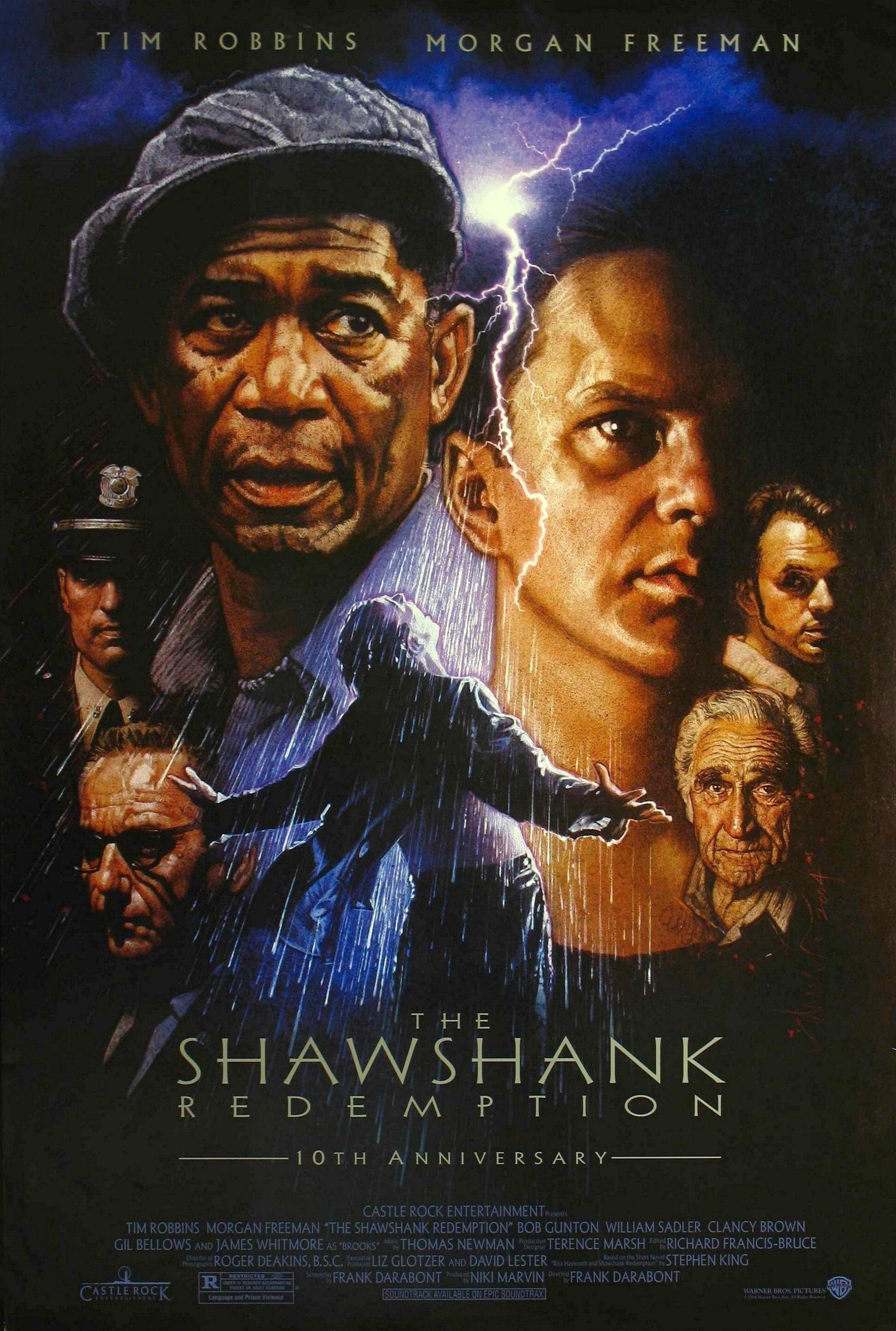 Morgan Freeman, Tim Robbins, Clancy Brown, Gil Bellows, William Sadler, Bob Gunton, and James Whitmore in The Shawshank Redemption (1994)